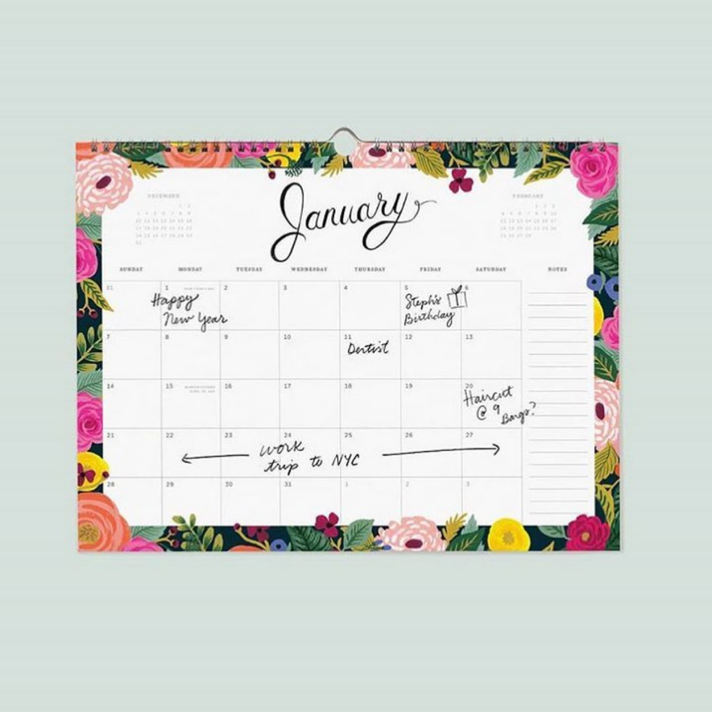 Calendario mensile decorato